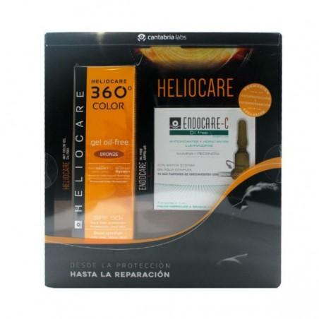 Comprar HELIOCARE 360 GEL OIL FREE BRONZE SPF 50 + ENDOCARE C OIL FREE 7 AMPOLLAS