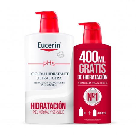 Comprar EUCERIN LOCIÓN HIDRATANTE ULTRALIGERA PH5 FAMILY PACK 1000ML + 400ML GRATIS