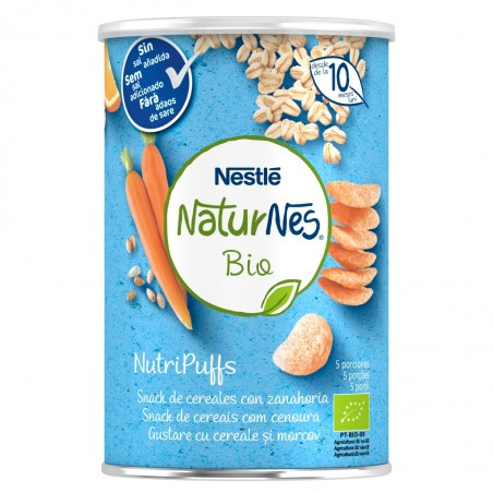 Comprar NESTLE NATURNES BIO NUTRIPUFFS SNACKS DE CEREALES CON ZANAHORIA 35G