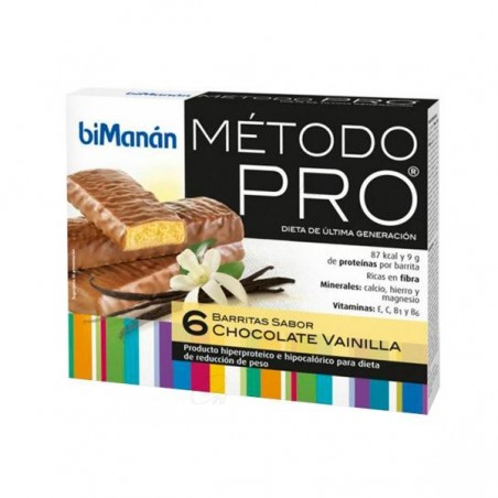 Comprar BIMANAN METODO PRO BARRITA CHOCOLATE- VAINILLA 6 BARRITAS