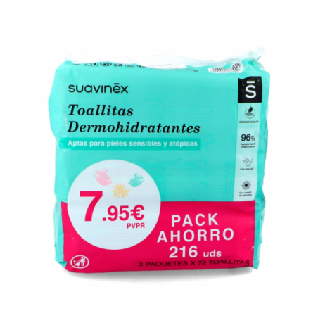 Comprar SUAVINEX PACK TOALLITAS DERMOHIDRATANTES 3 X 72 UNIDADES